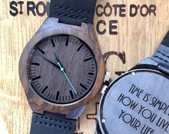 HUGE SALE - Wood Watch for Him - Engraved Wood Watch - Husband Gift - Anniversary Gift - Boyfriend Gift - Dad Gift  - Mens Wood Watch,