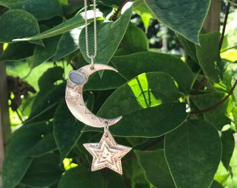 Moon and Star, Opal, FINE SILVER Pendant UNIQUE one of a kind