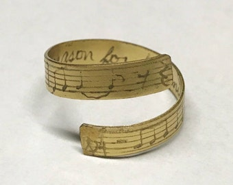 Gold Colored Sheet Music and Lyric Ring - musician, engraved, song, music notes, treble, bass, clef, line, wrap ring