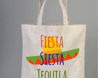 Bachelorette Tote Bag, Fiesta, Siesta, Tequila, Repeat, Wedding Bag, Personalized Party Favors, Wedding Welcome Tote Bags, Fancy Totes