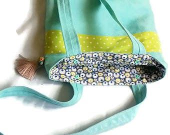 Suede tote bag turquoise blue