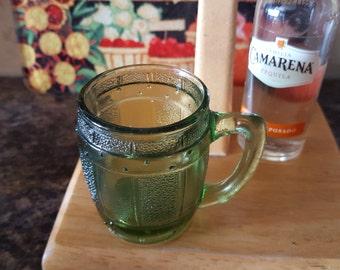 Vintage Indiana glass green barrel mug shotglass barware beer barrel toothpick holder miniature mug small glass mug