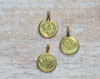 Hill Tribe Brass Charms, Tribe Hill Brass Charms, Om Brass Charm, Lotus Flower Brass Charm, Peace Sign Brass Charm