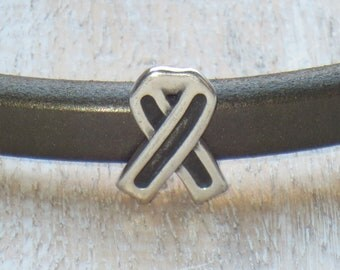 Regaliz Antique Silver Awareness Ribbon Spacer Bead, Spacer Bead, Slider Bead, Breast Cancer Spacer Bead
