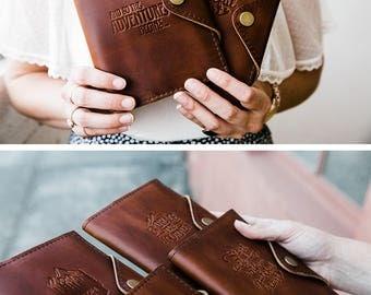 SHIPS FAST! Leather Journal Refillable - Bridesmaids Groomsmen, Wedding Handmade in Portland Oregon