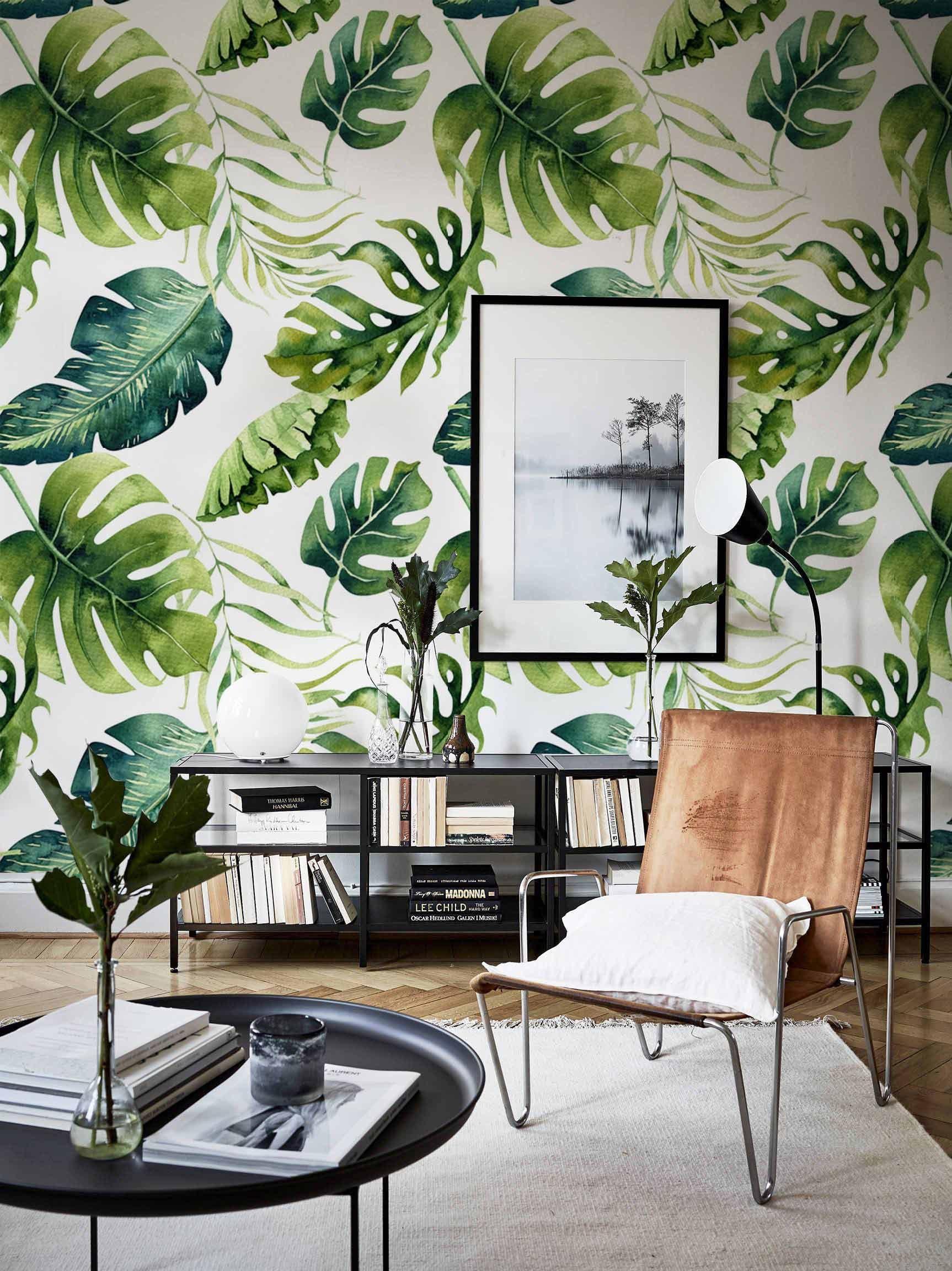 papier peint amovible feuilles vertes exotiques papier. Black Bedroom Furniture Sets. Home Design Ideas