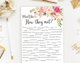 "Bridal Mad Libs ""How they met"" story printable Floral Mad Lib Wedding word game Instant download PDF JPEG"
