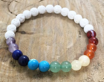 Chakra Beaded Essential Oil Diffuser Bracelet - White Lava Beads on stretch cord - Jewellery for women and men