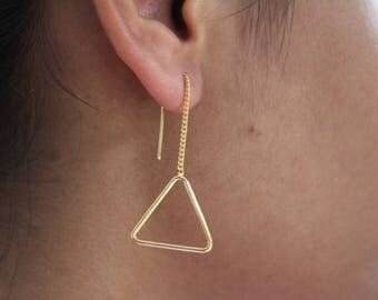 18K Gold Plated Threader Earrings in 925 Sterling Silver Triangle with Chain Earrings