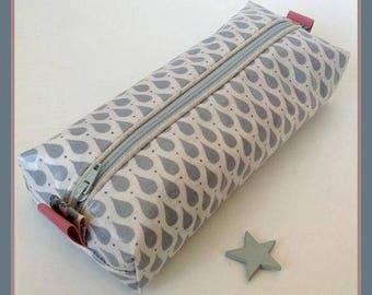 Back to school! Rectangular School Kit / pencil case, Scandinavian style cotton coated drops design gray.