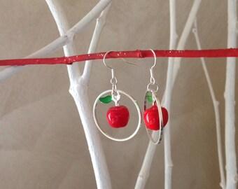 Silver metal and enamel dangle earrings