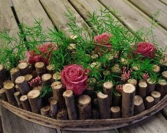 Wooden floral decoration and Eternal Roses