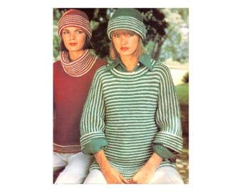 Bulky Pullovers & Hat Knitting Pattern - wide cowl neck, striped, fold over sleeves