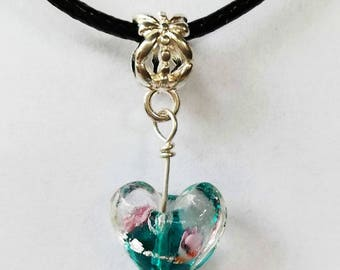 Glass Heart | Leather | Pendant Necklace | Multi Colours | 5 colours available