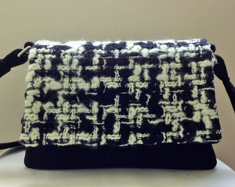 Bag flap with interchangeable flap, black and white tweed wool