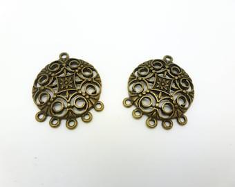 2 chandelier ornate arabesque ethnic 24 * 31mm antique bronze (8SCB03)