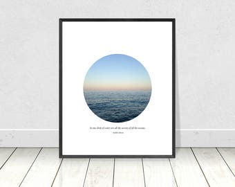 In One Drop Of Water, Poetry Print, Sea Quote Print, Printable Art, Sea Art Print, Kahlil Gibran, Pastel Wall Art, Quote Art,Literary Prints