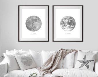 Set of 2 Prints, Moon Print, Celestial, Earth Print, Planet Prints,Prints Set,Moon Wall Art,Printable Art,Black White,Full Moon,Moon Poster