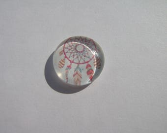 Cabochon 14 mm with an image of dream catcher, feather