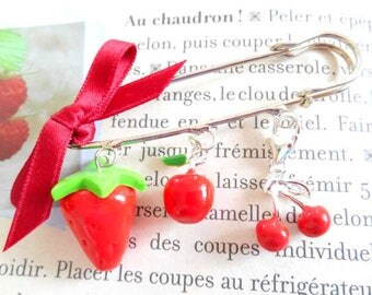 Brooch pin silver red enamel and polymer clay fruit charms.