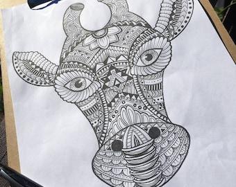 Original Mandala patterned animals; giraffe