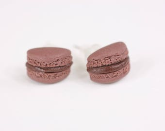 Stud Earrings - macaroons chocolate