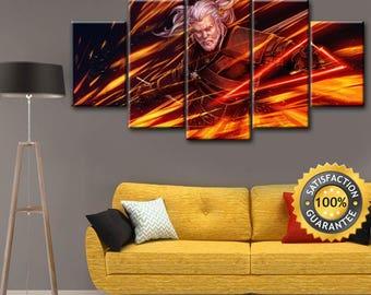 Geralt canvas, Witcher canvas, Gerald of Rivia, Geralt of Rivia, Wiedźmin canvas, Gerald canvas, Witcher wall art, White wolf canvas, Geralt