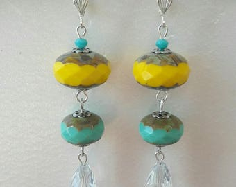 Bohemian earrings in yellow, blue and clear