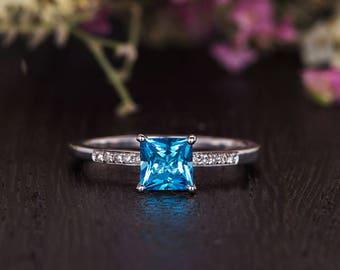 Princess Cut Blue Topaz Ring Bridal 1/4 Eternity White Gold Engagement Ring Birthstone Women Diamond Unique Antique Anniversary Promise Gift