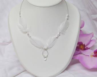 Wedding jewelry bride wedding necklace feathers and pearls swarovski crystal white