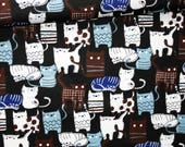 Tissu chats, 100% coton imprimé 50 x 160 cm, chats sur fond noir