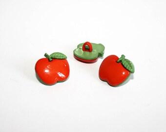 2 orange Apple buttons, set of 2 buttons, shank button