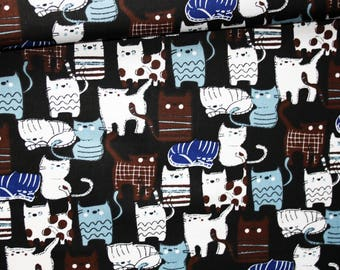 Cats, 100% cotton fabric printed 50 x 160 cm, cats on black background