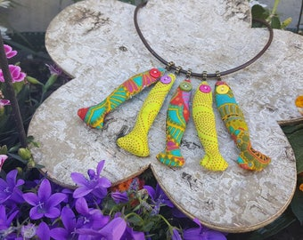 """Textile necklace ' beautiful day sardines"""