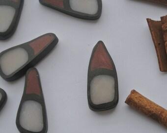 set of 20 beads polymer clay, triangular