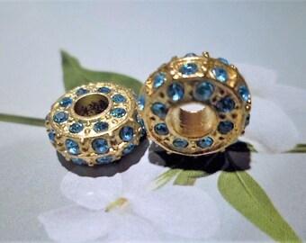 1 gold set with Rhinestone blue 14 X 5 mm Pandora Style bead