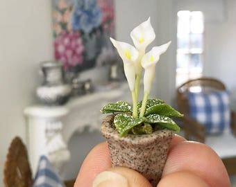 Miniature lilies - white lily in plant pot - Dollhouse - Diorama - 1:12 scale