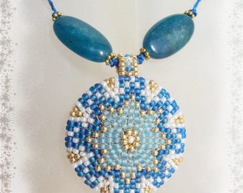 Mandala - Woven seed beads and Apatite - OOAK necklace