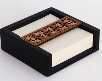 Luxury Wooden Memo Pad Holder with Note / Telephone Pad - Desk Organiser & Desk Tidy - Lattice Geometric Design