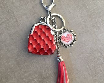 Love - Bag charm with coin 20mm glass cabochon
