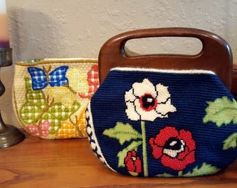 1970's vintage wood handle purse with 2 bags.   One of a kind wool needlework, interchangeable.  Retro, bohemian.