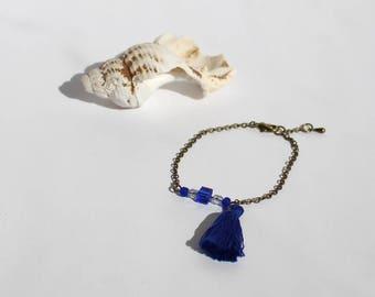 Bracelet Chaine et Pompon bleu Klein