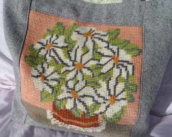 Handmade Shopping Tote in Grey Felt with Vintage Needlepoint