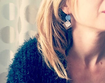 Blue leather earrings / cement tile patterns / lightweight earrings with hypoallergenic and anti oxidant clip