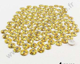 Fusible sequin - gold HOLOGRAM - 4mm - x 150pcs