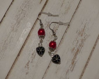 Red and black rhinestone dangling earrings