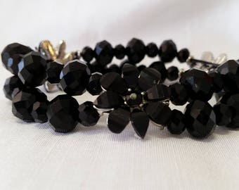 handmade jewellery , black, special occasion, flower, diffrent, unique, one of a kind, limited edition, gift, present. bracelet  birthday