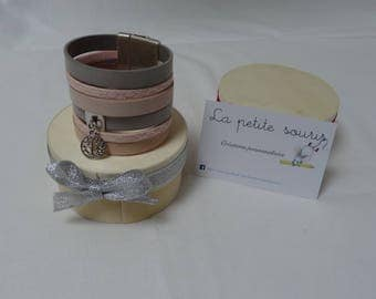 Pink and gray wide leather with magnetic Cuff Bracelet