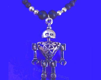 Robot charm necklace, robot pendant necklace, robot with spanners for arms, mechanical man, paranoid android, android necklace