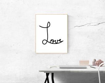 """Digital art print- """"Love"""", minimalist wall art, digital download print, black and white"""